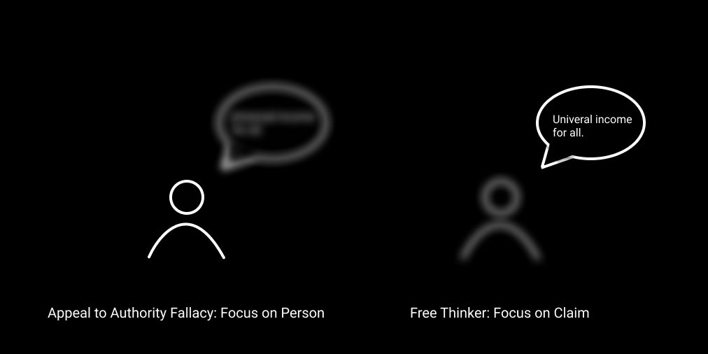Appeal to authority fallacy versus Free Thinker